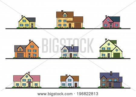 Set of urban and suburban cottage style residential houses, thin line icons. Real estate and construction concept.