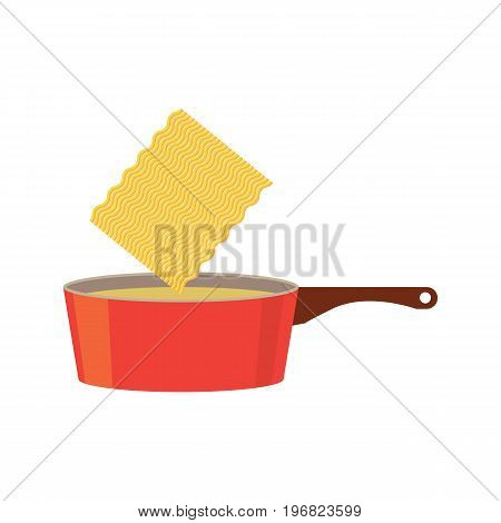 instant noodles in cook processing. vector illustration