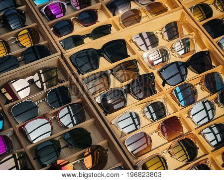 Sunglass Fashion display in wooden box Shop Hipster Lifestyle