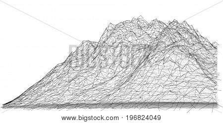 Wireframe polygonal landscape. 3D Vector Illustration. EPS 10