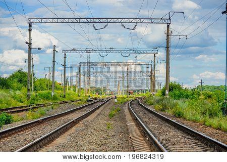 Landscape Railways On a summer sunny day
