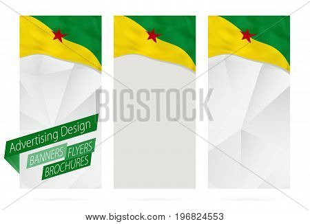 Design Of Banners, Flyers, Brochures With Flag Of French Guiana.
