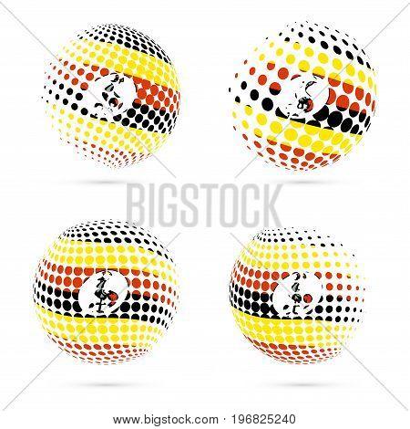 Uganda Halftone Flag Set Patriotic Vector Design. 3D Halftone Sphere In Uganda National Flag Colors