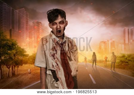 Crowd Of Creepy Asian Zombies With Bloody Face