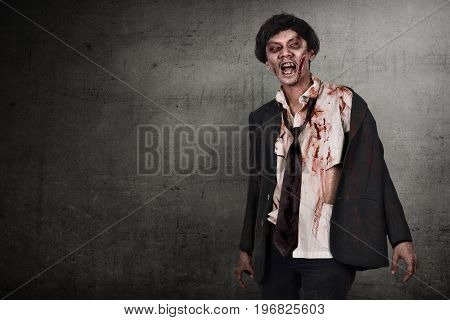 Portrait Of Asian Zombies Man With Wounded Face