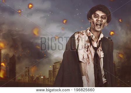 Portrait Of Horrible Asian Zombie Man With Suit