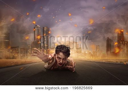 Aggressive Asian Bloody Zombie Man Crawling