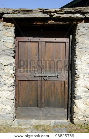 Door Of A House At The Rural Village Of Palagnedra On Centovalli Valley