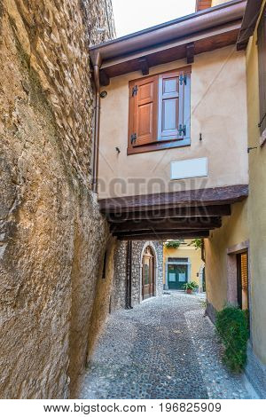 Picturesque small town street view in Malcesine, Lake Garda Italy.