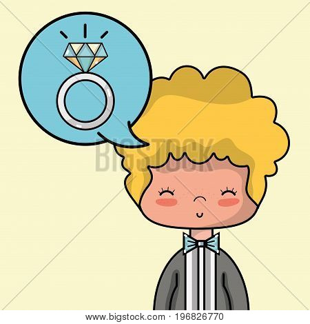groom lover with suit and hairstyle design vector illustration