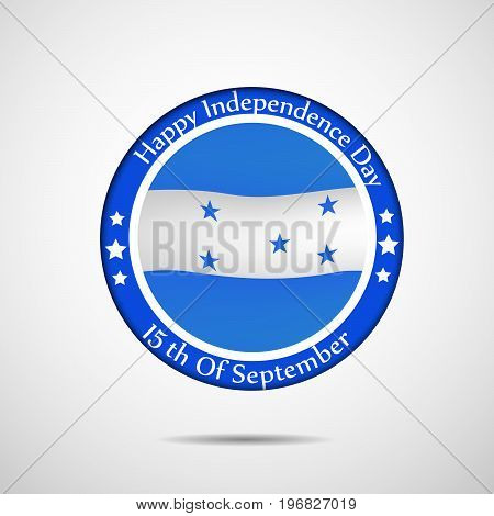 illustration of stamp in Honduras flag background with Happy Independence day text on the occasion of Honduras Independence Day