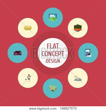 Flat Icons Besom, Laundry, Towel And Other Vector Elements