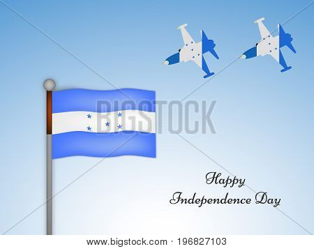 illustration of Honduras flag and aircraft with Happy Independence day text on the occasion of Honduras Independence Day