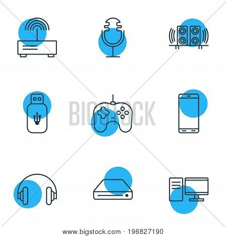 Editable Pack Of Joypad, Sound Recording, Usb Card And Other Elements.  Vector Illustration Of 9 Accessory Icons.