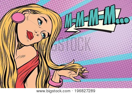 m-m-m beautiful woman blonde long hair. Pop art retro comic book vector illustration