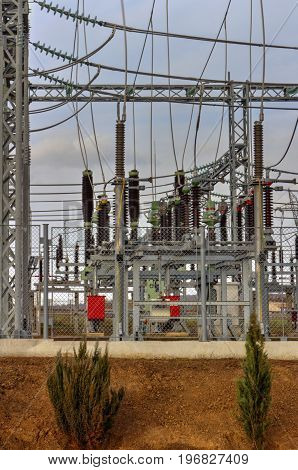 High voltage switchyard in modern electrical substation