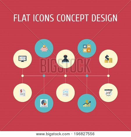 Flat Icons Duty, Coins Pile, Paper And Other Vector Elements
