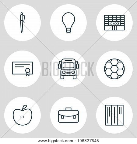 Editable Pack Of Car, Portfolio, Bulb And Other Elements.  Vector Illustration Of 9 Science Icons.