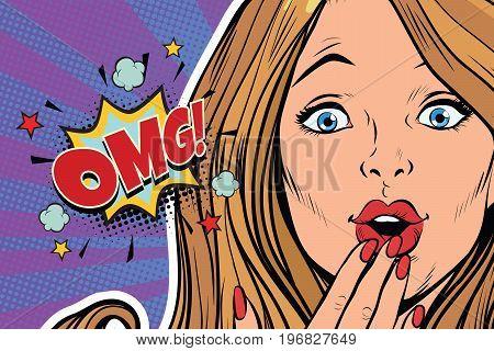 OMG surprised pop art woman face. Pop art retro comic book vector illustration