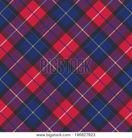 Blue tartan pixel fabric texture seamless pattern. Vector illustration.