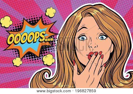 oops surprised pop art woman face. Pop art retro comic book vector illustration