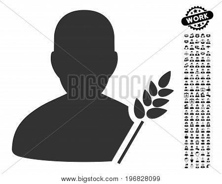 Agriculture Farmer icon with black bonus men symbols. Agriculture Farmer vector illustration style is a flat gray iconic element for web design app user interfaces.