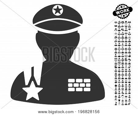 Army General icon with black bonus job icon set. Army General vector illustration style is a flat gray iconic symbol for web design app user interfaces.