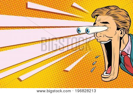 Hyper expressive reaction cartoon man face, big eyes and wide open mouth. A man looks at something. Pop art retro comic book vector illustration