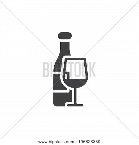 Wine bottle and wineglass icon vector, filled flat sign, solid pictogram isolated on white. Symbol, logo illustration. Pixel perfect vector graphics