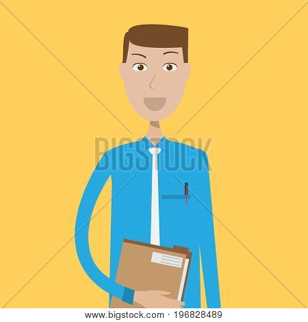 Secretary Character Male | set of vector character illustration use for human, profession, business, marketing and much more.The set can be used for several purposes like: websites, print templates, presentation templates, and promotional materials.