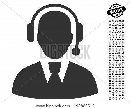Call Center Manager icon with black bonus profession pictures. Call Center Manager vector illustration style is a flat gray iconic symbol for web design app user interfaces.