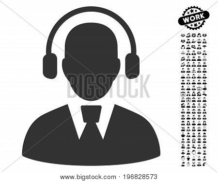 Call Center Operator icon with black bonus work pictures. Call Center Operator vector illustration style is a flat gray iconic element for web design app user interfaces.