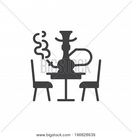 Hookah lounge icon vector, filled flat sign, solid pictogram isolated on white. Shisha symbol, logo illustration. Pixel perfect vector graphics