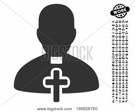 Catholic Priest icon with black bonus job pictograms. Catholic Priest vector illustration style is a flat gray iconic symbol for web design app user interfaces.