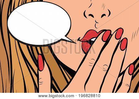 comic bubble closeup of female hand closed mouth. Pop art retro comic book vector illustration
