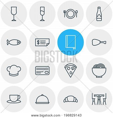 Editable Pack Of Seafood, Tray, Account And Other Elements.  Vector Illustration Of 16 Eating Icons.