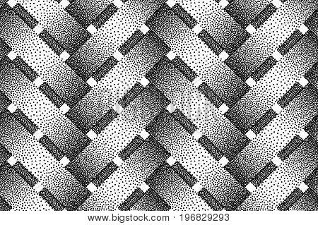 Vector seamless decorative pattern of wicker bars. Stipple texture.