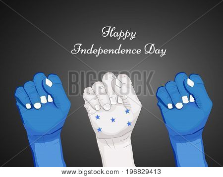 illustration of hands in Honduras flag background with Happy Independence day text on the occasion of Honduras Independence Day