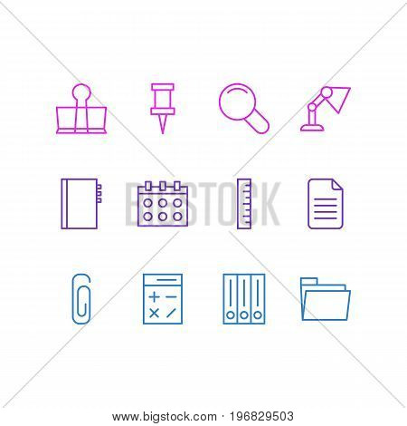 Editable Pack Of Paperclip, Textbook, Meter And Other Elements.  Vector Illustration Of 12 Tools Icons.