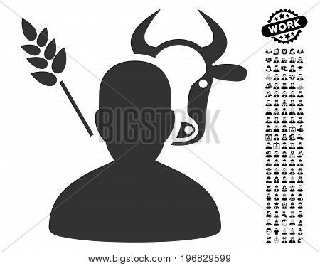 Farmer icon with black bonus work clip art. Farmer vector illustration style is a flat gray iconic element for web design app user interfaces.