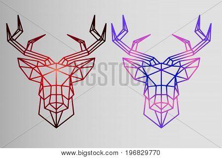Geometric set - deer - sketch of tattoo - red deer and neon gradient deer
