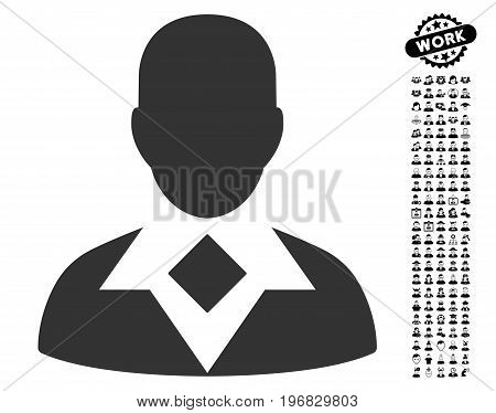 Guy icon with black bonus job design elements. Guy vector illustration style is a flat gray iconic symbol for web design app user interfaces.