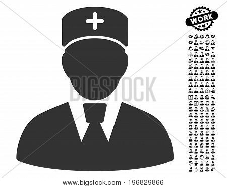Head Physician icon with black bonus professional pictograph collection. Head Physician vector illustration style is a flat gray iconic element for web design app user interfaces.