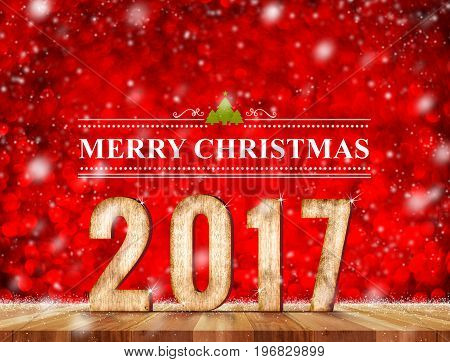 Merry Christmas 2017 word in perspective room with red sparkling bokeh lights and wooden plank floorleave space for display of product.