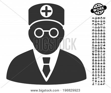 Head Physician icon with black bonus men pictograph collection. Head Physician vector illustration style is a flat gray iconic element for web design app user interfaces.