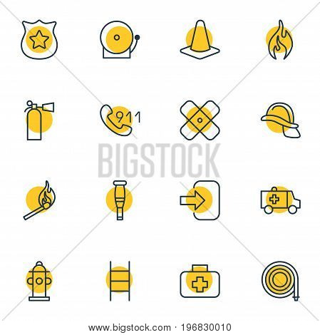 Editable Pack Of Siren, First-Aid, Fire And Other Elements.  Vector Illustration Of 16 Necessity Icons.