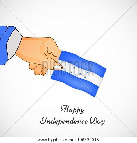 illustration of hand holding Honduras flag with Happy Independence day text on the occasion of Honduras Independence Day