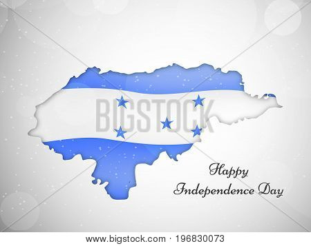 illustration of map in Honduras flag background with Happy Independence day text on the occasion of Honduras Independence Day