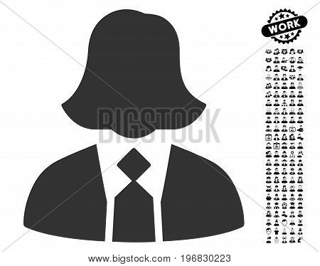 Lady Manager icon with black bonus job images. Lady Manager vector illustration style is a flat gray iconic element for web design app user interfaces.