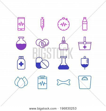 Editable Pack Of Antibiotic, Pressure Gauge, Treatment And Other Elements.  Vector Illustration Of 16 Health Icons.